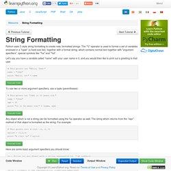 String Formatting - Learn Python - Free Interactive Python Tutorial
