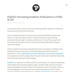 PubCSS: Formatting Academic Publications in HTML & CSS