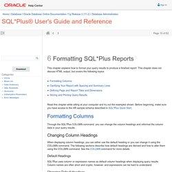 Formatting SQL*Plus Reports