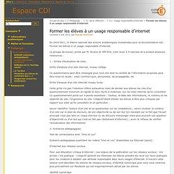 Former les élèves à un usage responsable d'internet - ESPACE CDI