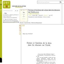 Formes et fonctions de la doxa dans les discours sur l'école