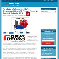 FormFutura Releases Food-Safe Transparent HDglass 3D Printing Filament – Sample it Today for $2.12