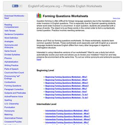 Forming Questions Worksheets