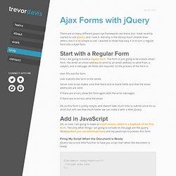 Ajax Forms with jQuery | Trevor Davis
