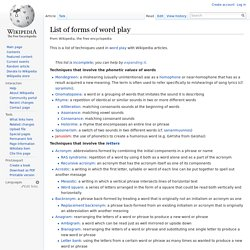 List of forms of word play