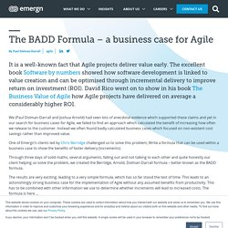The BADD Formula - a business case for Agile - Emergn