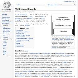Well-formed formula