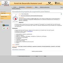 Recursos de Desarrollo Humano Local: Formulación de proyectos de cooperación (nivel básico)