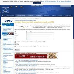 CEPEJ : Formulaire d'abonnement à la Newsletter de la CEPEJ