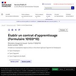 Service en ligne et formulaire 10103*07 : Établir un contrat d'apprentissage