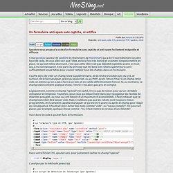 Un formulaire anti-spam sans Captcha par Spookev