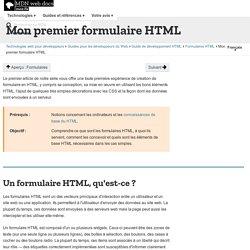 Mon premier formulaire HTML - Guides pour développeurs Web
