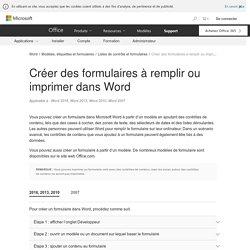 Créer des formulaires à remplir ou imprimer dans Word - Word