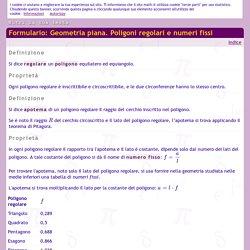 Formulario: Geometria piana. Poligoni regolari e numeri fissi