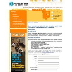 Museo Nacional de Costa Rica - Formulario de Voluntariado y Donaciones