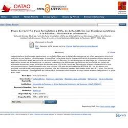 OATAO - 2006 - Thèse en ligne : Etude de l'activité d'une formulation à 50‰ de deltaméthrine sur Stomoxys calcitrans à la Réunion : résistance et rémanence