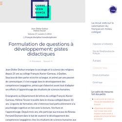Formulation de questions à développement: pistes didactiques