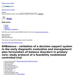 EMBalance - validation of a decision support system in the early diagnostic evaluation and management plan formulation of balance disorders in primary care: study protocol of a feasibility randomised controlled trial