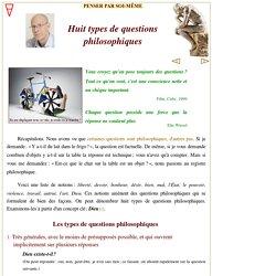 Huit types de formulation des questions philosophiques