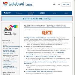 Question Formulation Technique Resources