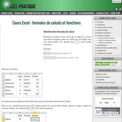 Cours Excel : formules de calculs et fonctions