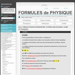 Formules Physique DYNAMO