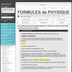 Formules Physique LONGUEUR d'ONDE