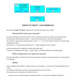 EXCEL 2007 - Les formules : références absolues et relatives, audit de formules...