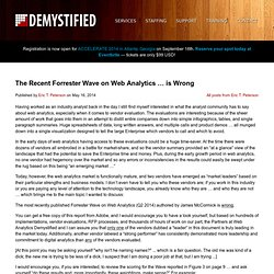 The Recent Forrester Wave on Web Analytics … is Wrong Web Analytics Demystified