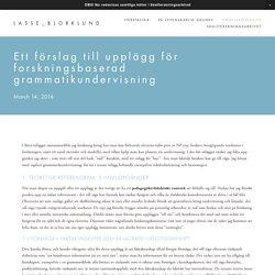 Ett förslag till upplägg för forskningsbaserad grammatikundervisning — LASSE_BJORKLUND