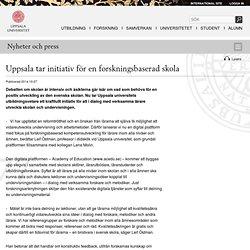 Uppsala tar initiativ för en forskningsbaserad skola - Uppsala universitet