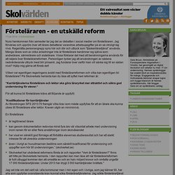 Försteläraren - en utskälld reform - Sara Bruun
