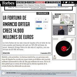 La fortuna de Amancio Ortega crece 14.900 millones de euros