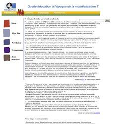 Foruméduc : Quelle éducation à l'époque de la mondialisation ?
