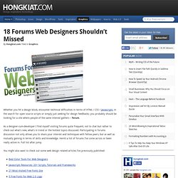 18 Forums Web Designers Shouldn't Missed