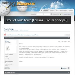 Excel et code barre [Forums - Forum principal]