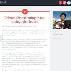 Rektors förutsättningar som pedagogisk ledare