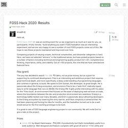 FOSS Hack 2020: Results - FOSS Hack 2020 - FOSS United