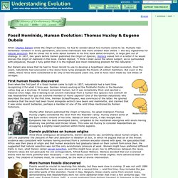 Fossil Hominids, Human Evolution: Thomas Huxley & Eugene Dubois