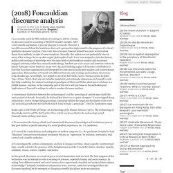 (2018) Foucauldian discourse analysis - Miguel Ángel Martínez
