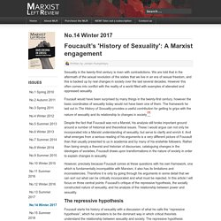 Foucault's 'History of Sexuality': A Marxist engagement