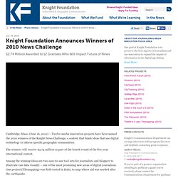 Knight Foundation Announces Winners of 2010 News Challenge