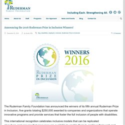 Ruderman Family Foundation » Announcing the 2016 Ruderman Prize in Inclusion Winners!