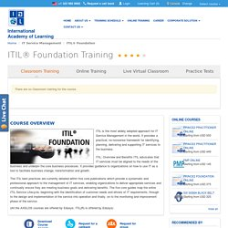 ITIL Foundation Certification & Training in Chennai