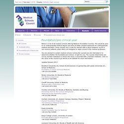 Foundation/pre-clinical year - Courses - Students - Medical Schools Council