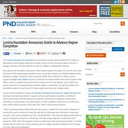 PND - News - Lumina Foundation Announces Grants to Advance Degree Completion