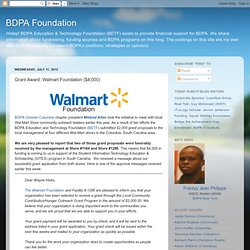 BDPA Foundation: Grant Award: Walmart Foundation ($4,000)