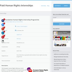 Oak Foundation Human Rights Internship Programme - Paid Human Rights Internships