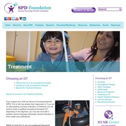 SPD Foundation - Find Service Providers - Choosing an OT