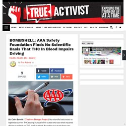 BOMBSHELL: AAA Safety Foundation Finds No Scientific Basis that THC in Blood Impairs Driving